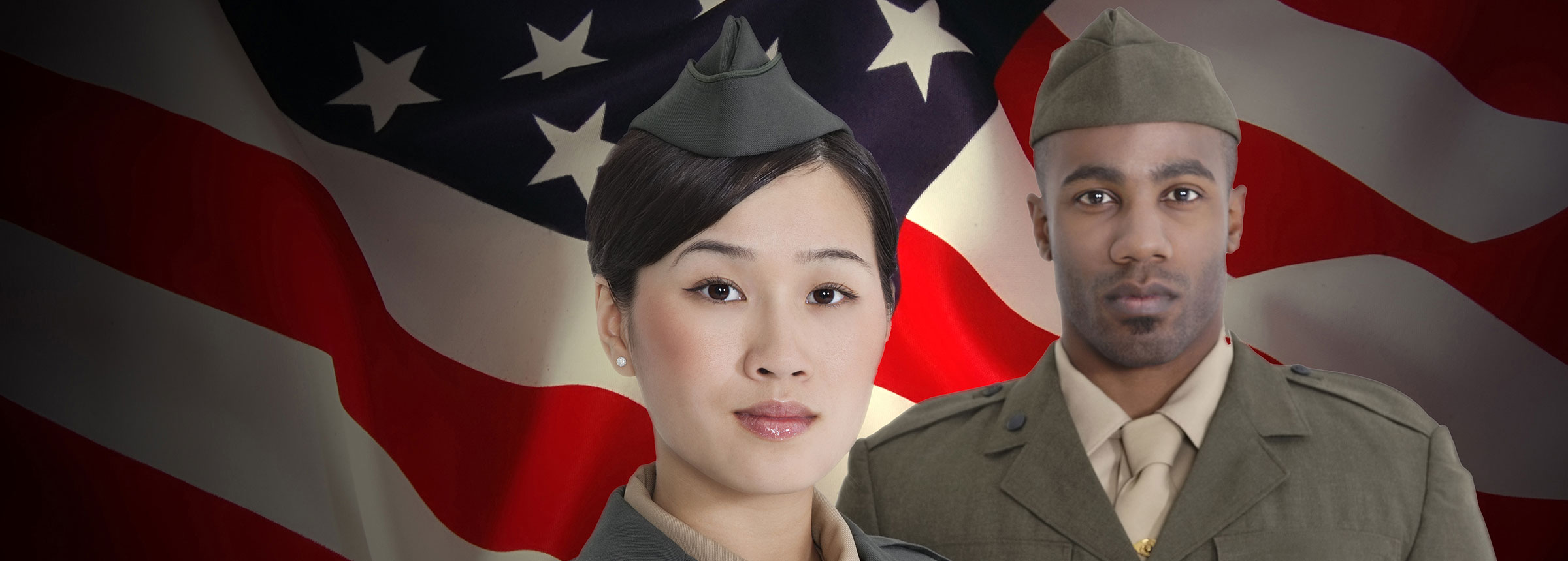 man and woman in military uniform with american flag background