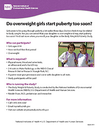 Printable Body Weight & Puberty Study Flyer
